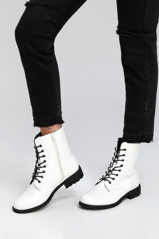 Bellah White Lace-Up Combat Boots