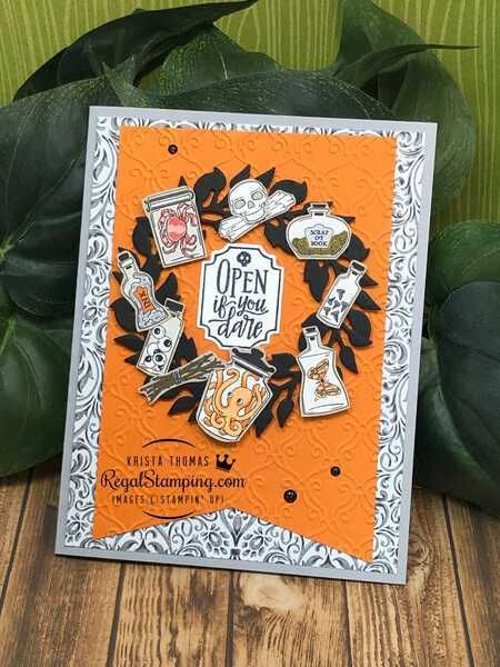 Halloween 2020 Regal Monster Bash All Around Wreath, Stampin' Up!   Regal Stamping in