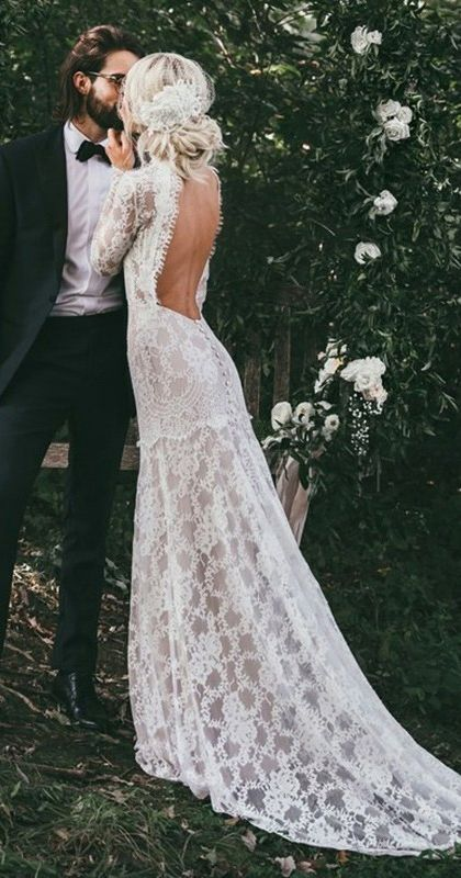 Princess White Lace Boho Spring Wedding Dresses Vintage Long Sleeves Backless Weddin Lace Beach Wedding Dress Lace Wedding Dress Vintage Bohemian Wedding Dress