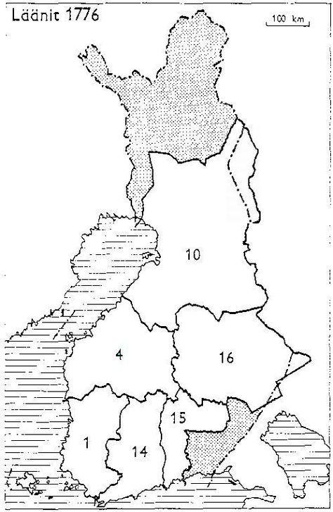 Finnish Counties 1776 Suomen Laanit 1776 1 Turun Ja Porin