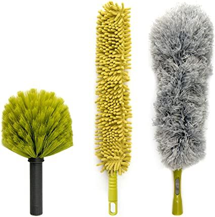 DocaPole Dusting Kit for Extension Pole or by Hand | Cleaning Kit Includes  3 Dusting Attachments | Cobweb Duster | M… in 2021 | Cleaning kit, Feather  duster, Extension pole