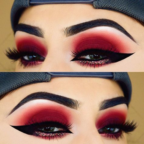Amazing Red Eyeshadow Makeup Ideas For Your Inspiration In Holiday Sesaon; Makeup Looks; Holiday Makeup Looks; Natural Looks; Red Eyeshadow Makeup Looks; Red Eyeshadow Makeup, Makeup Geek, Skin Makeup, Makeup Inspo, Makeup Ideas, Gel Eyeliner, Eyeshadow Palette, Red Glitter Eyeshadow, Makeup Brushes