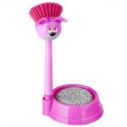 Afwasborstel 'Voerbak Roze Hond' met schuursponsje. Je kunt er natuurlijk ook iets anders inleggen!