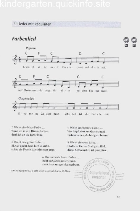 Das Regenbogenlied Kindergarten Lieder Kinder Lied Projekt