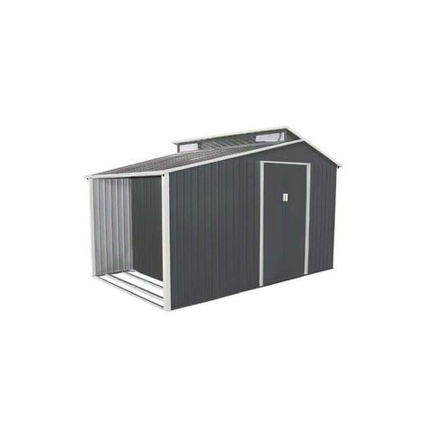 Abri De Jardin Avec Bucher En Metal 6 00 M Kit D Ancrage Inclus