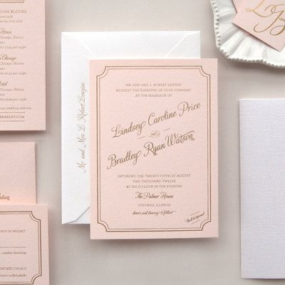metallic gold foil letterpress wedding invitation on pink paper Letterpress Wedding Invitations Free Samples metallic gold foil letterpress wedding invitation on pink paper sample lindsey (free shipping) $7 50, via etsy the big day inspiration pinterest letterpress wedding invitations free samples