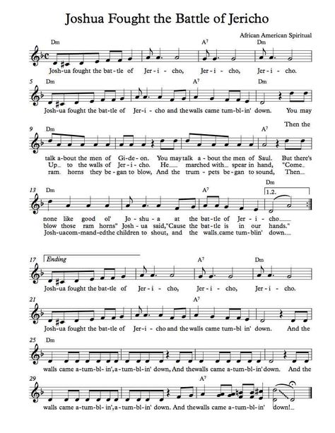 Free Sheet Music - Free Lead Sheets - Joshua Fought the Battle of Jericho - African American Spiritual