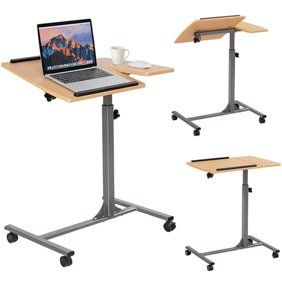 Estink Sturdy Rolling Computer Desk Height And Tilt Adjustable Mobility Work In 2020 Adjustable Computer Desk Height Adjustable Computer Desk Adjustable Laptop Table