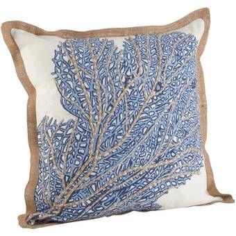 Aloisia Sea Fan Cotton Throw Pillow Throw Pillows Blue Throw Pillows Cotton Throw Pillow