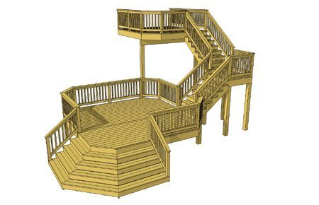 This Unique Plan Features 2 Levels Separated By A Landing And 2 Flights Of Stairs The Top Deck Is 10 X 10 P In 2020 Building A Deck Deck Plans Diy Free Deck Plans