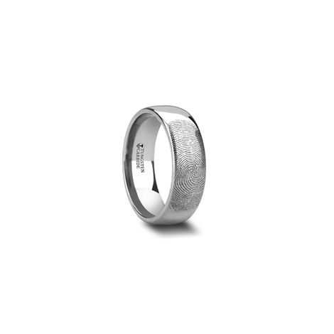 F860 Dptc Fingerprint Engraved Domed Tungsten Ring Polished 4mm 12mm Tungsten Ring Tungsten Wedding Bands Tungsten