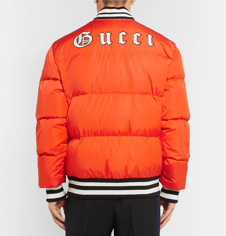 Gucci New York Yankees Appliqued Quilted Shell Down Jacket Ao Khoac