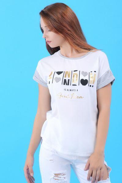 Bayan Tisort London Baskili Beyaz T Shirt 2018 Kislik Cool Kapali Genc Moda Deri Modern Modavigo Butik Toptan Giyim Gunluk Kad Kadin Moda Giyim