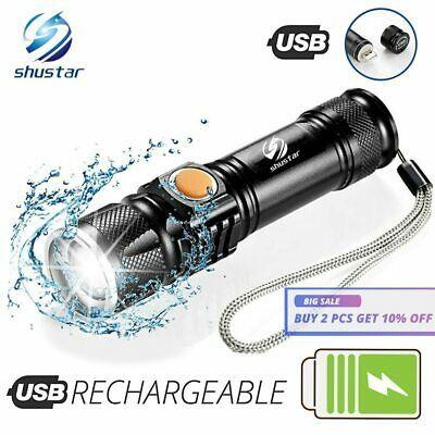 Portable USB Rechargeable LED Flashlight Waterproof Torch Keychain spotlight UK