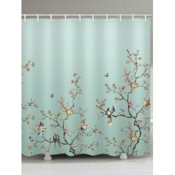 Free Shipping 2018 Birds Tree Branch Flower Print Shower Curtain
