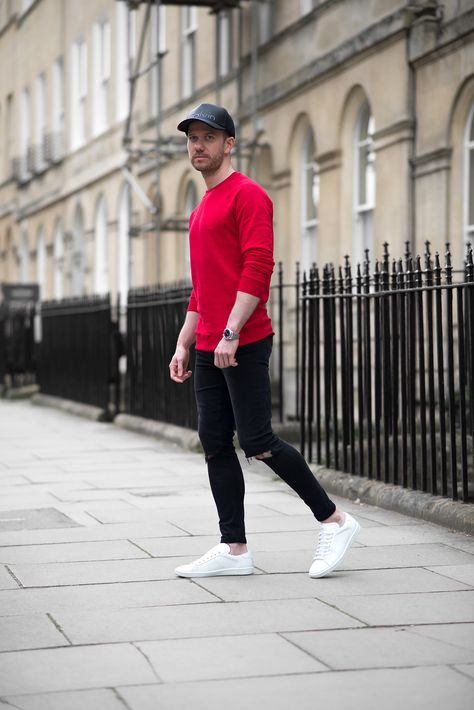 Fashion : casual black jean outfits men cool tom cridland red sweatshirt and black skinny jeans outfit casual black jean outfits men