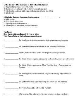13 Colonies Assessment Third Grade Third Grade Social Studies