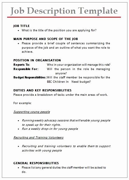 30 Job Description Template Word Job Description Word Template