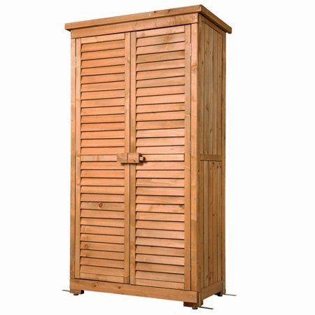 Outdoor Garden Wood Storage Cabinet Waterproof Tool Shed Blinds Lockers Nature Walmart Com Outdoor Storage Cabinet Porch Storage Wood Storage Cabinets