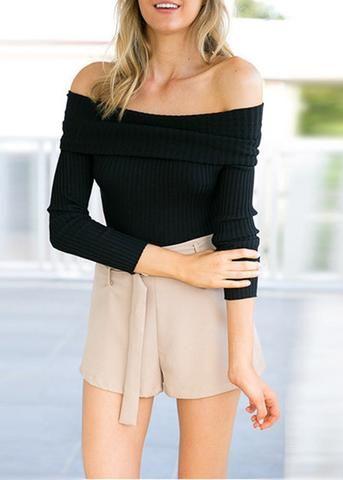 Blusa Canelada Feminina Ombro A Ombro Sweaters Femininos