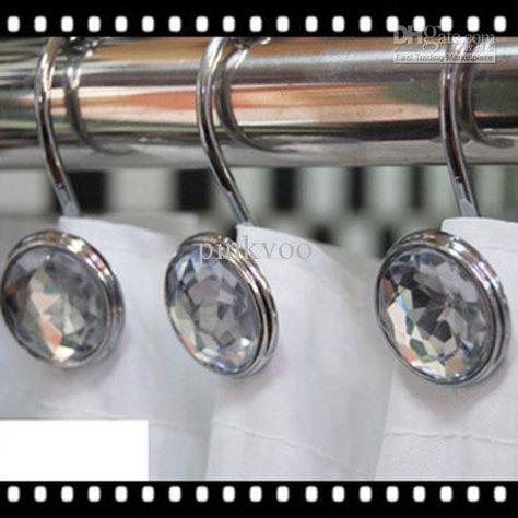 12 Decorative Rhinestone Rolling Shower Curtain Hooks Bling