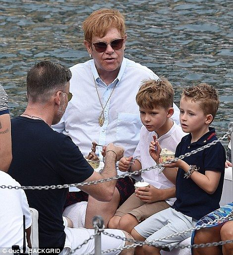 Fun day: Following the outing Elton, David and their sons seen enjoying an ice cream or tw...