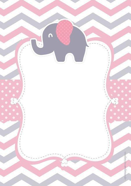 Pink elephant with theme of free invitation and memory ...  #BabyShowergames #babyshowerinvitations #babyshowerplanner #babyshowertorte