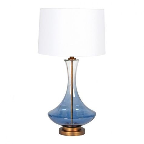 Tapered Blue Glass Side Lamp | French