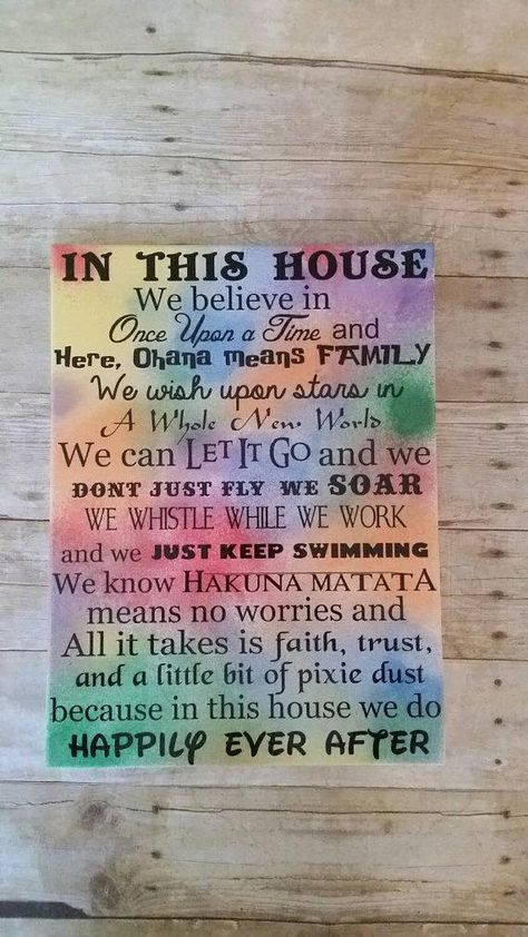 In This House we do Happily ever after multi color, we do disney 24x30, castle, Disney sign, disney