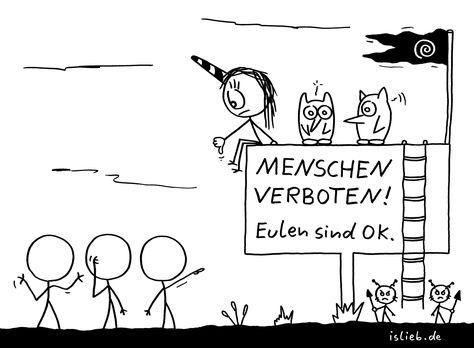 <3 - #cartoon #eulen #humor #islieb #menschen #okay #verboten