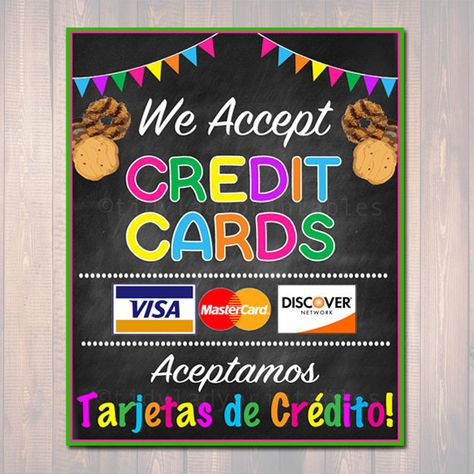 Girl Scouts Cookie Booth Sign, We Accept Credit Cards, Aceptamos Credito, Printable Girl Scouts Cookie Banner, Cookie Booth Sales Poster