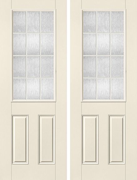 8ft Sdl Satin Etch 12 Lite Half Lite 2 Panel Smooth Star Double Door Double Doors Smooth Doors