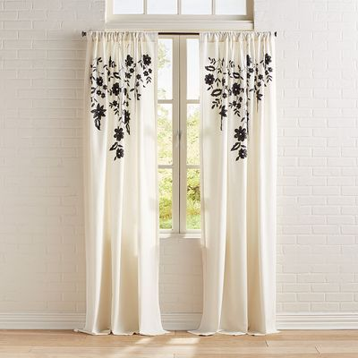 Our Smooth Cotton Linen Curtain Is Embellished With A Lovely Cotton Applique In A Floral Pattern You Ll Love How This Ivory Curtains Curtains Natural Curtains