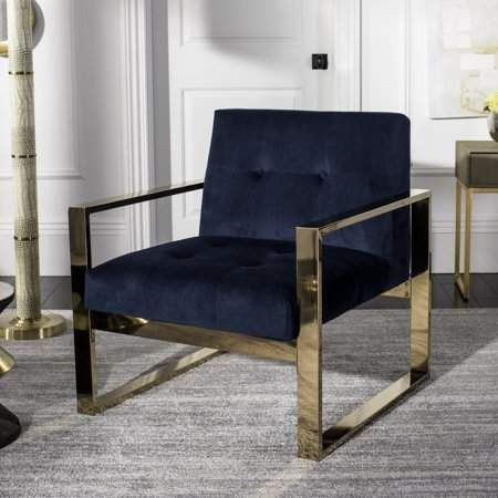 Safavieh Vasco Modern Glam Cushioned Accent Chair Navy Accent