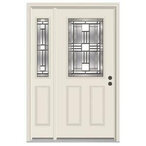 Jeld Wen 52 In X 80 In 1 2 Lite Cordova Primed Steel Prehung Right Hand Inswing Front Door With Left Hand Sidelite 748915 The Home Depot Steel Front Door Steel Doors Front Door