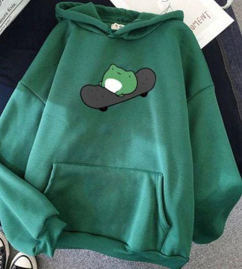 Skating Frog Hoodie   Cartoon Hoodie   Oversized Sweatshirt Unisex Hoodies   Harajuku Warm Pullover Drawstring  Korean/Kpop style