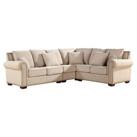 italian linen sectional sofa with nailhead trim and kiln dried wood rh pinterest com