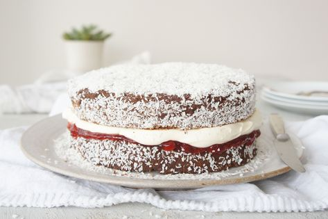 Old-fashioned lamington gets super-sized with our giant edible version.