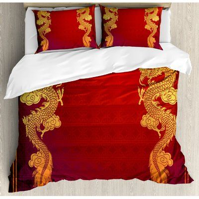 East Urban Home Dragon Chinese Heritage Historical Asian Eastern Motif With Legendary Creature De Duvet Cover Sets Traditional Duvet Covers Duvet Covers Yellow