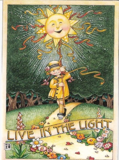 My handmade magnets are created using Mary Engelbreit Artwork illustrations from Mary Engelbreit desk calendars. Mary Engelbreit, Adorable Petite Fille, Creation Photo, My Sun And Stars, Mellow Yellow, Yellow Coat, My Sunshine, Journaling, Whimsical