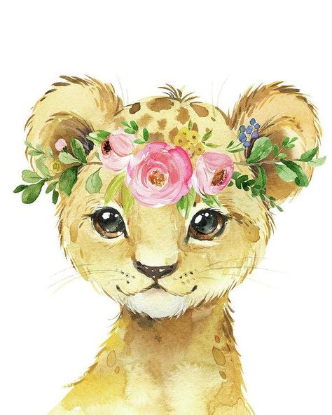 Watercolor Lion Leopard Zoo Animal Safari Art Print - Art Print