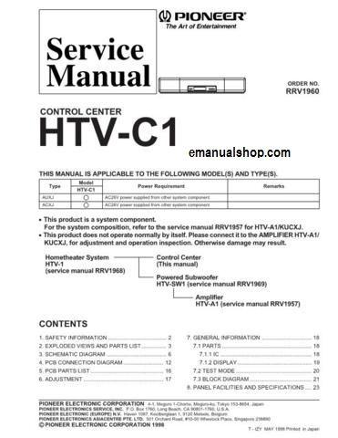 Pioneer service manual~htv-c1 control center~original~repair | ebay.