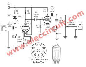 Guitar Preamp Circuit Over Drive Using 12au7 Diy Guitar Amp Diy Amplifier Electronic Circuit Projects