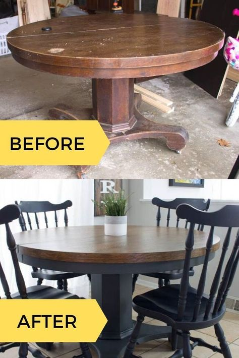 Learn how to stain and paint a table with this flea market flip find. This befor… Learn how to stain and paint a table with this flea market flip find. This before and after DIY upcycle dining room table idea is perfect for your apartments or home decor. Diy Furniture Renovation, Refurbished Furniture, Repurposed Furniture, Home Decor Furniture, Furniture Projects, Furniture Makeover, Barbie Furniture, Garden Furniture, Furniture Design