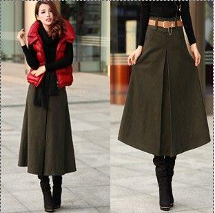 3 Colors Woolen Skirts 2013 Autumn Winter Women A-Line Maxi Long Skirt Thicken Wool Vintage Elegant Muslim Islam Slim Bust Skirt(China (Mainland))