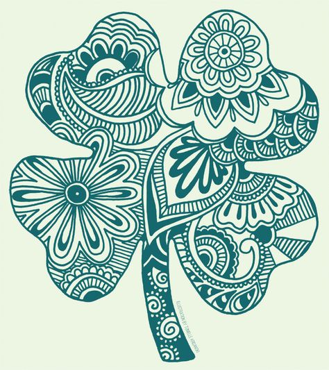 zentangle four leaf clover - Saferbrowser Yahoo Image Search Results