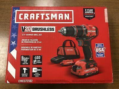 Sponsored Ebay Craftsman V20 Lithium Ion Brush Less 1 2 Hammer Drill Kit In 2020 Drill Hammer Drill Craftsman