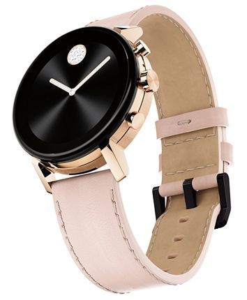 Movado Connect 2 0 Pink Leather Strap Touchscreen Smart Watch 40mm Reviews All Fine Jewelry Jewelry Watches Macy In 2020 Leather Leather Straps Pink Leather