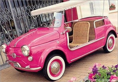 """Pink Fiat 500 Jolly with wicker seats --- too cute! Manufactured by Ghia in the late as a beach-side auto for Mediterranean playboys. This little baby had wicker seats, removed side panels, a """"surrey-with-the-fringe-on-top"""" & came in a bunch of gran Volkswagen, Vw Bus, Fiat Panda, Pretty In Pink, Vintage Pink, Vintage Italian, Vintage Cars, Pink Wheels, Beach Rides"""