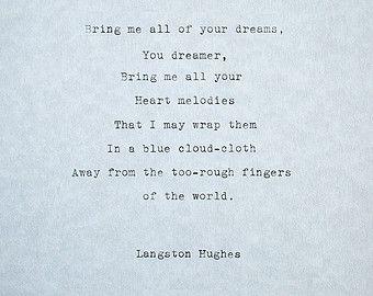 Typewriter Poem The Dream Keeper Langston Hughes Original Life Poem Poetry Old Style Typewriting